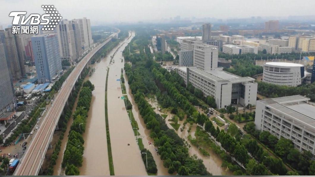 河南安陽淹水造成嚴重災情。(圖/TVBS) 觀點/從美中關係的大背景 理解蔡總統為何關懷河南災情