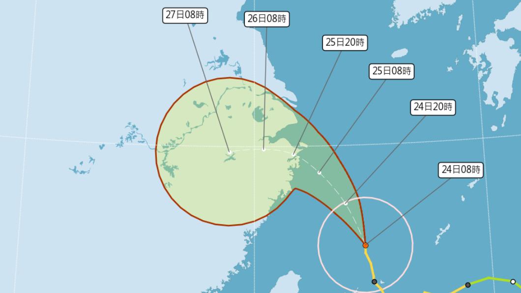 烟花颱風以每小時15公里速度,向北北西轉西北進行。(圖/中央氣象局) 烟花外圍環流強襲北台 預計11:30解除海警