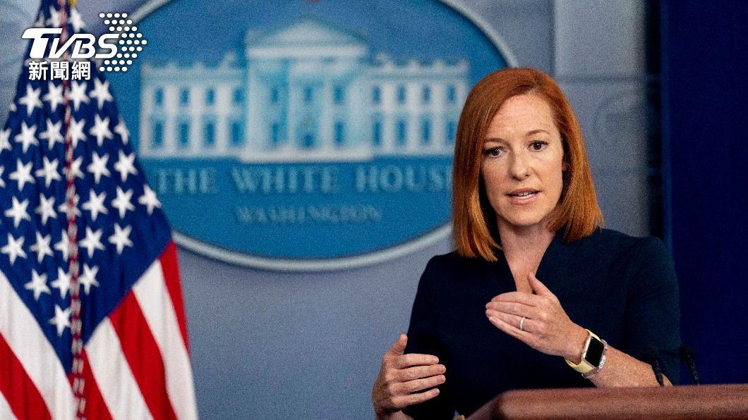 美國白宮記者會,發言人珍·薩奇(Jen Psaki)。(圖/達志影像美聯社) 疫情燒!美國重新戴上口罩 追加2億劑輝瑞、接種第三劑
