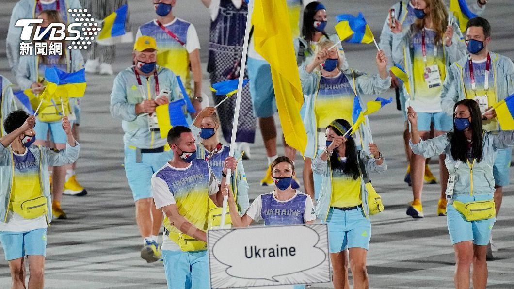 東京奧運開幕式上,烏克蘭代表隊進場。(圖/達志影像美聯社) 扯海地總統遭暗殺!車諾比核災=烏克蘭 南韓播東奧挨轟