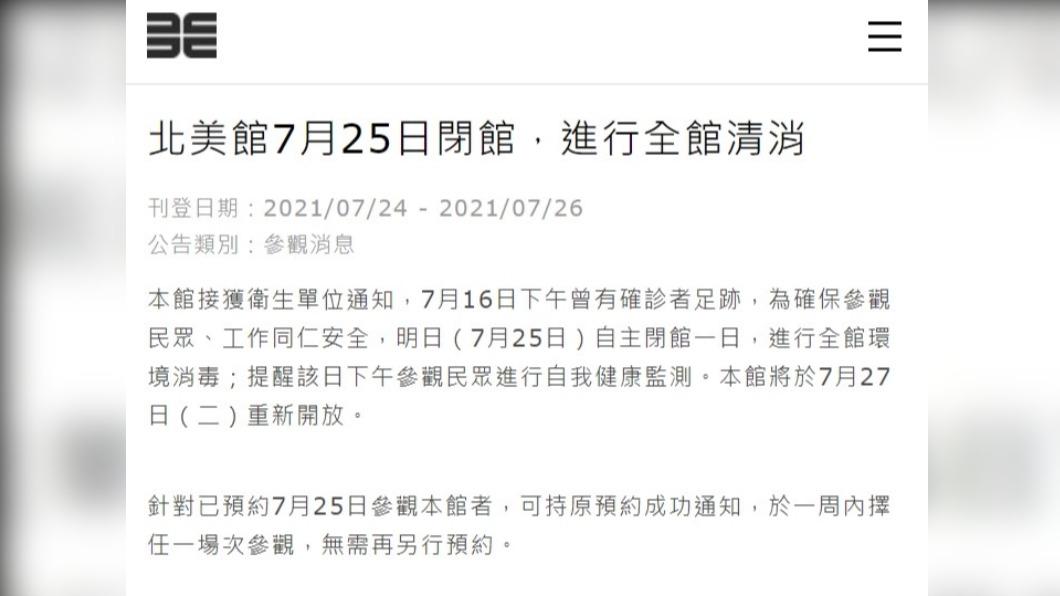 圖/中央社(圖取自台北市立美術館網頁tfam.museum) 確診者16日去過北美館 25日閉館清消27日再開
