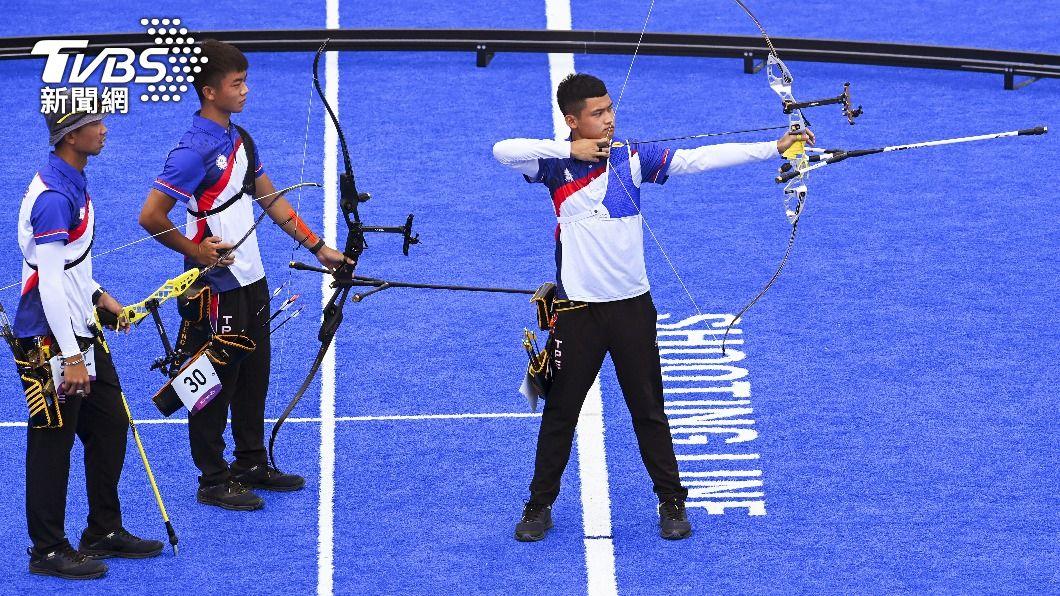 中華男子射箭代表團。(圖/達志影像路透社) 逆轉險勝上屆銅牌!中華男子射箭團體下午8強戰大陸
