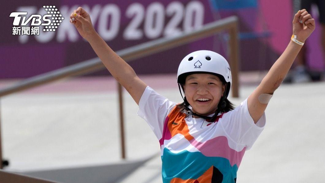 13歲日本小選手西矢椛。(圖/達志影像美聯社) 才13歲!日本史上最年輕奧運金牌選手西矢椛 用滑板寫歷史