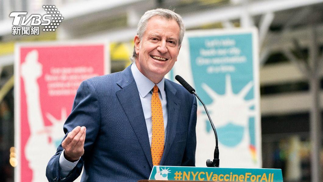 紐約市市長白思豪。(圖/達志影像路透社) 紐約市長下令 市府人員一律接種疫苗或每週篩檢