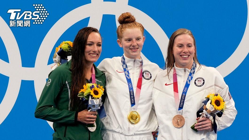 女子100公尺蛙式項目中,分別由美國拿下金、銅牌,南非奪得銀牌。(圖/達志影像美聯社) 美國泳隊再收一金一銅 阿拉斯加17歲「女蛙」爆冷奪冠