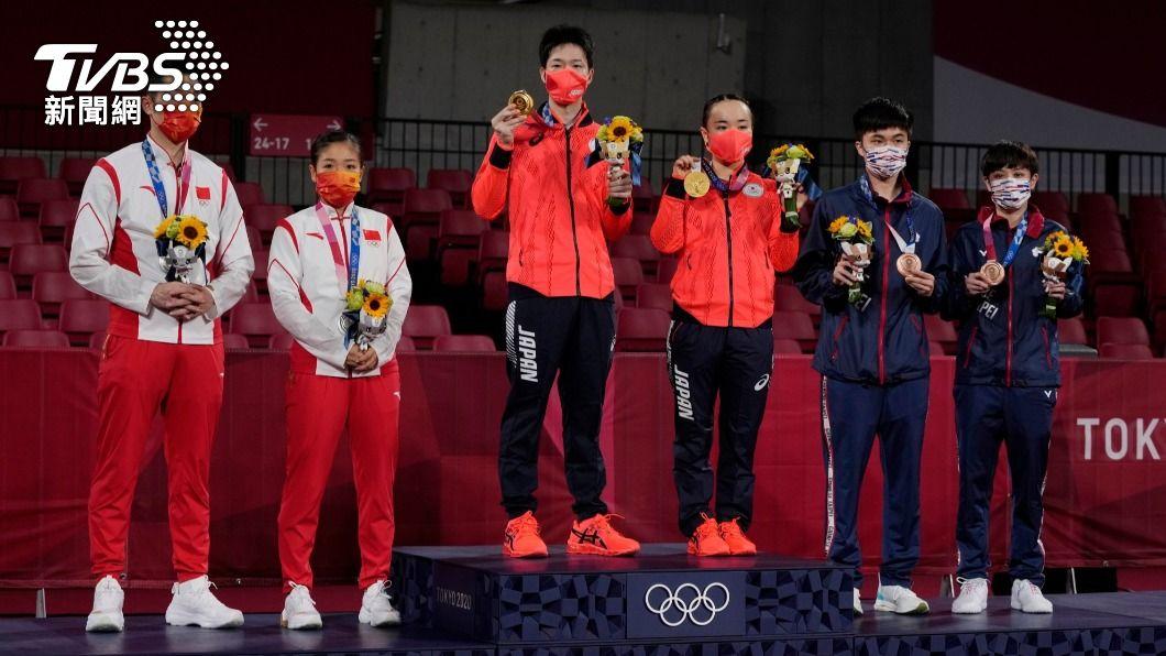 2020東京奧運桌球混雙26日進行銅牌戰、金牌戰。(圖/達志影像美聯社) 桌球5金夢碎!陸網友炸鍋提質疑:日本人的心機!