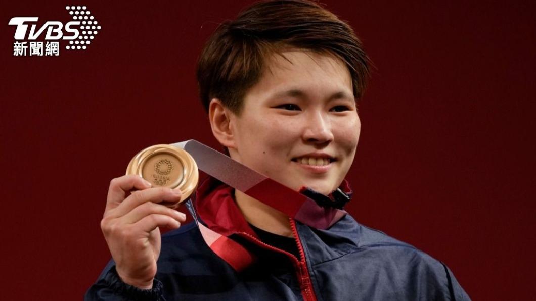 24歲的舉重女將陳玟卉在女子64公斤量級中奪下銅牌。(圖/達志影像美聯社) 以為輸了「哭著收東西」 陳玟卉得知奪銅喜極而泣