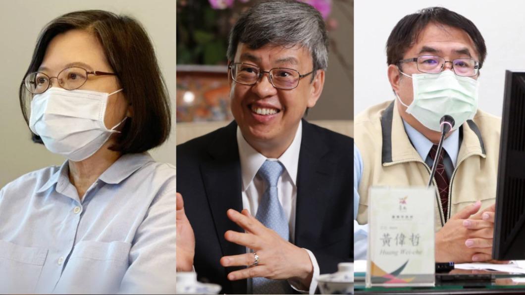有些政治人物支持高端疫苗。(圖/翻攝自蔡英文、陳建仁 Chen Chien-Jen、黃偉哲臉書) 國產疫苗開放接種 力挺、不力挺意見領袖網路聲量曝