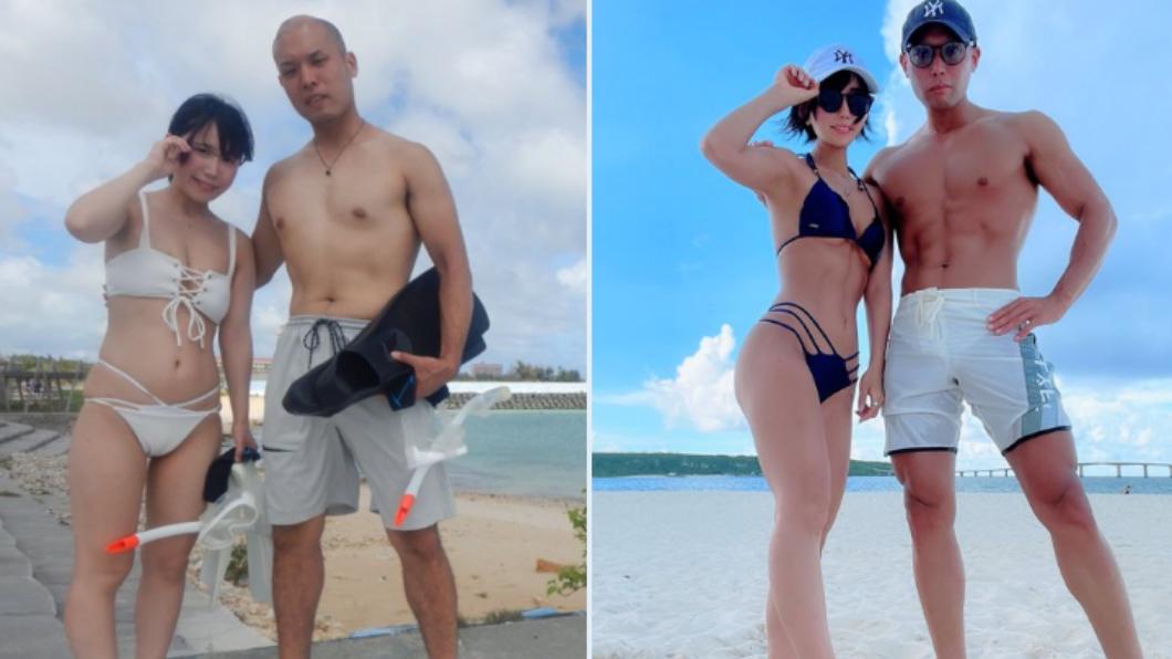 日本夫妻分享健身前後對比照爆紅。(圖/翻攝自@urmk06推特) 最辣夫妻檔!趁防疫花3年健身 超狂對比照曝光掀網轟動