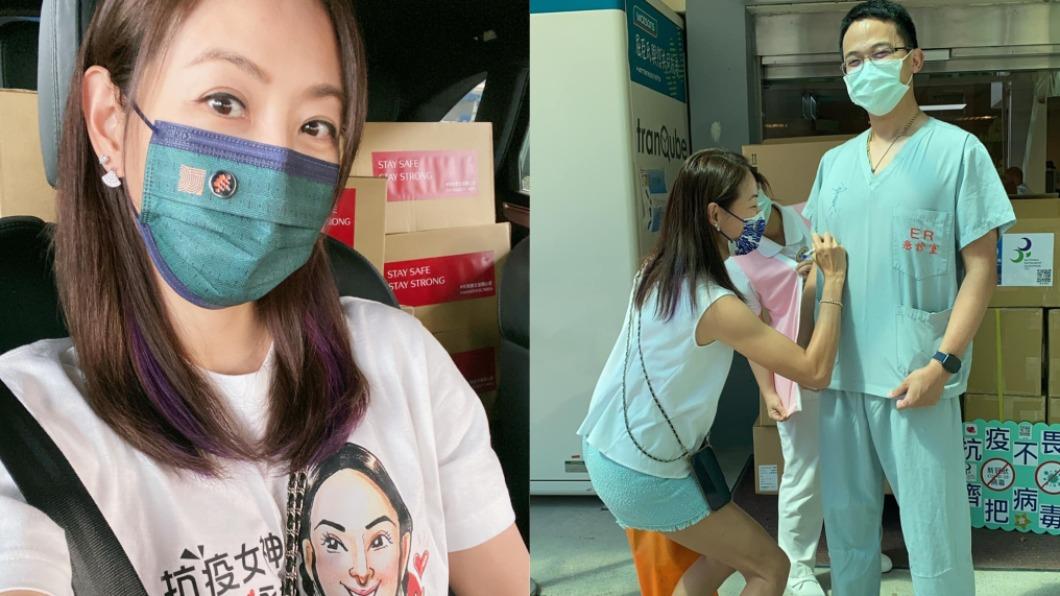 賈永婕被醫生要求簽名在衣服上。(圖/翻攝自賈永婕臉書) 在帥哥醫師「胸肌上簽名」 賈永婕羞喊:一早就很補