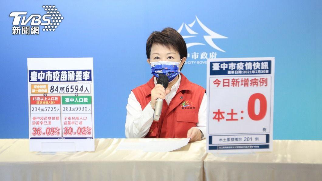 台中市長盧秀燕說明疫情。(圖/中央社) 疫苗涵蓋達30% 台中疫情記者會改不定期召開