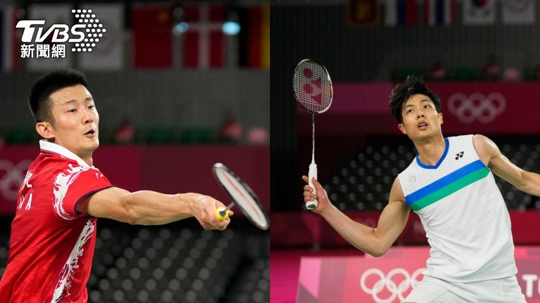 周天成(右)今(31)日在東奧羽球男單8強賽中,對上大陸羽球好手諶龍(左)。(圖/達志影像美聯社) 復仇失敗!周天成8強再碰「天敵」諶龍 止步8強
