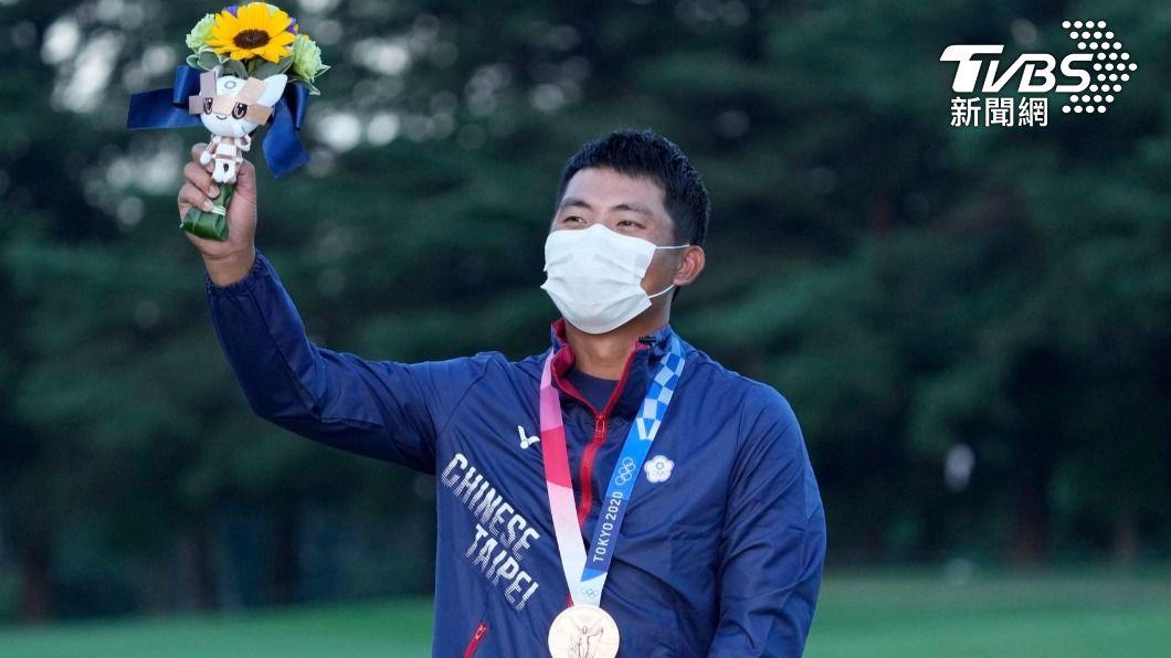 我國高球好手潘政琮昨天在東京奧運經過延長加賽,奪下銅牌。(圖/達志影像美聯社) 「爸爸,你看到了嗎」潘政琮高球奪銅 完成與亡父約定