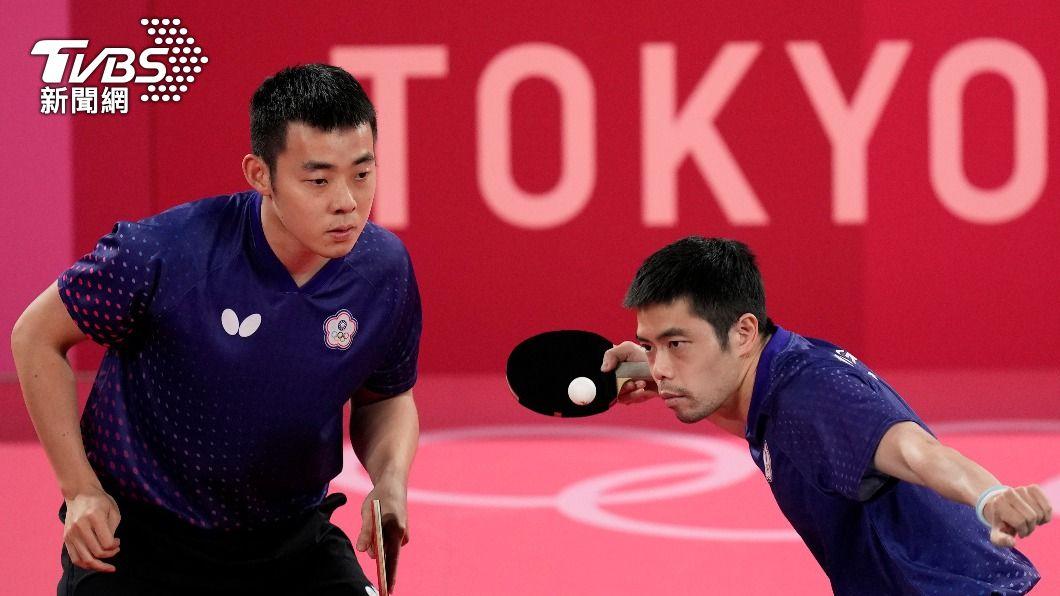 雙打部份由莊智淵和陳建安搭擋。(圖/達志影像美聯社) 中華隊桌球男團2:3惜敗德國 東奧止步8強