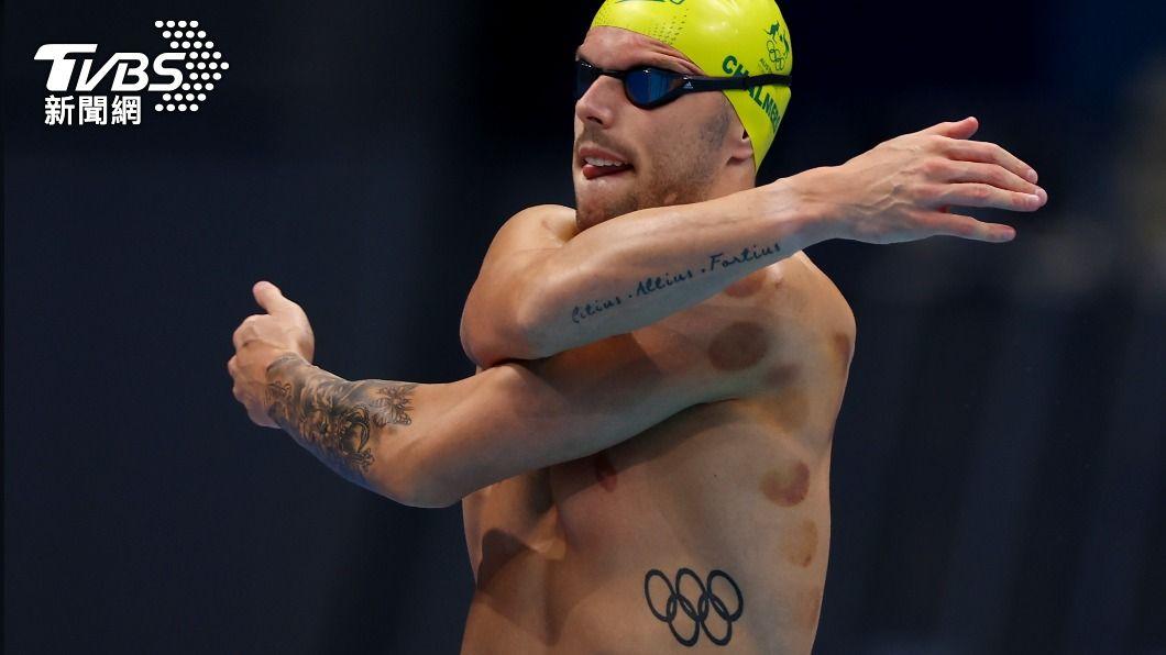 澳洲泳將查莫斯。(圖/達志影像路透社) 奧運泳池邊驚現「東方神秘力量」 外媒熱議:去打漆彈?