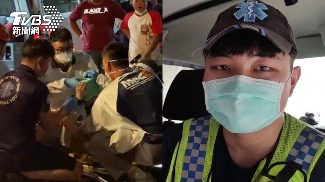救護員(圖右)正巧是女老師曾教過的學生。(圖/TVBS) 救護員到場「死者是老師」 CPR救不回淚崩:我盡力了