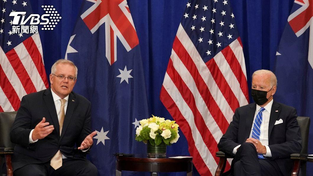 美國總統拜登與澳洲總理莫里森舉行雙邊會談。(圖/達志影像路透社) 潛艦風波後首度會談 美澳領袖致力維護印太自由