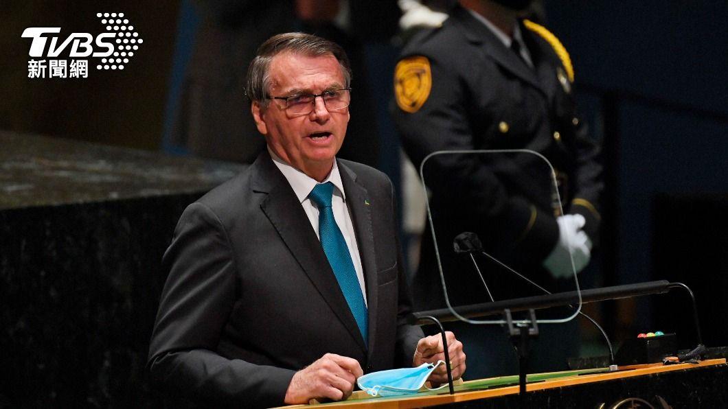 巴西總統波索納洛出席聯大。(圖/達志影像美聯社) 出席聯合國大會隨行官員染疫 巴西總統返國隔離