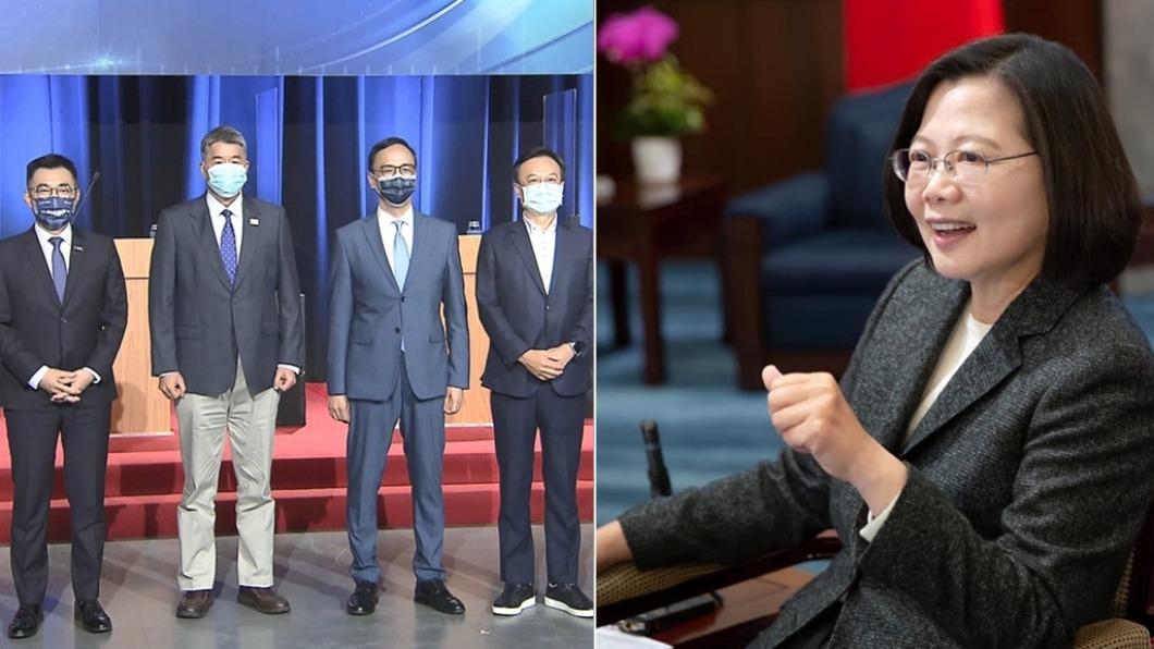 總統蔡英文被問藍黨魁之爭。(圖/TVBS、翻攝自蔡英文臉書) 看好誰贏藍黨魁?小英笑了 「超級黑馬」殺出綠營皮皮剉