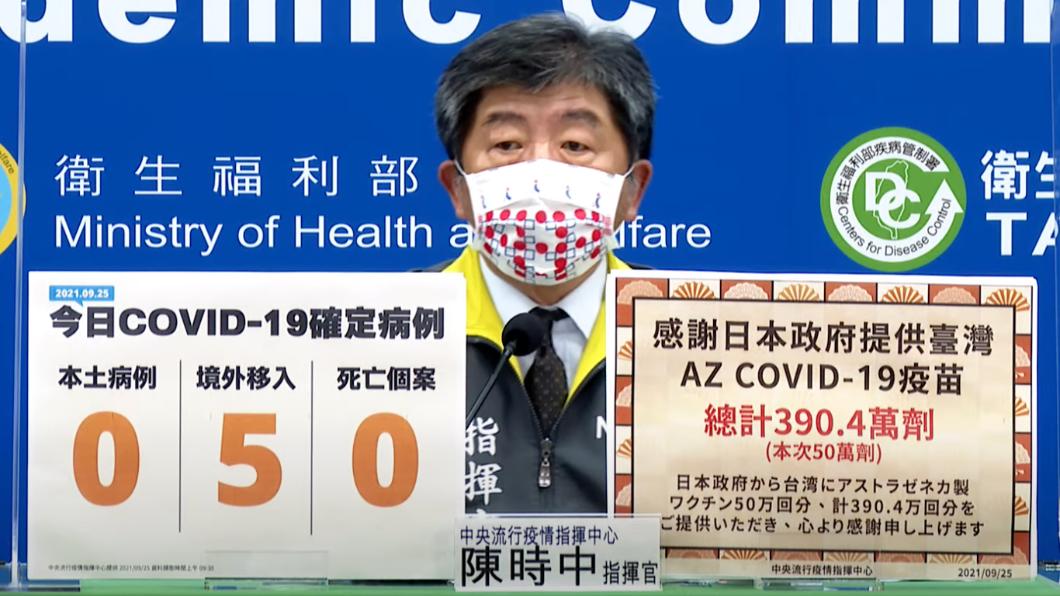 陳時中再次感謝日本贈與疫苗,並透露效期。(圖/中央流行疫情指揮中心) 又有50萬劑AZ疫苗抵達!陳時中曝日本捐贈疫苗效期