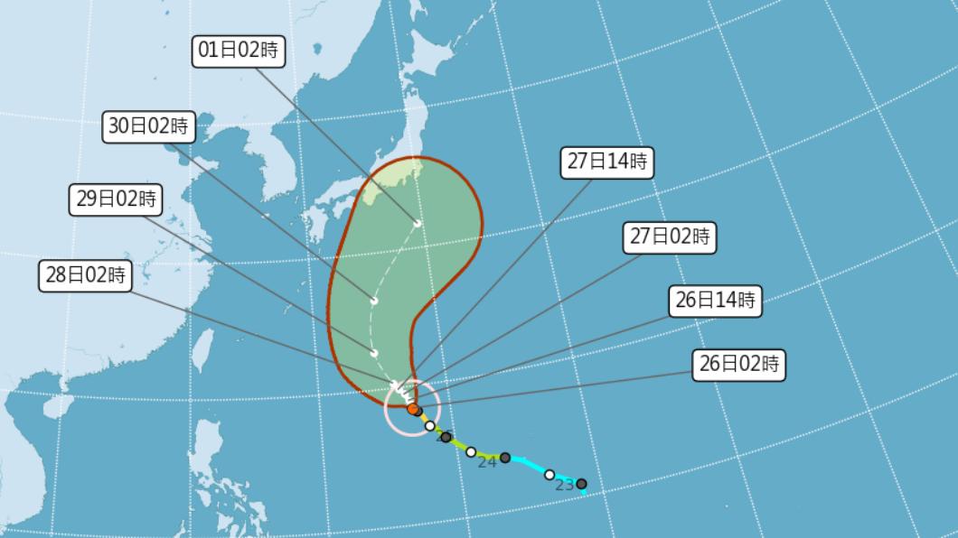 圖/中央氣象局 快訊/「蒲公英」估成今年第2強颱 今北、東有短暫雨