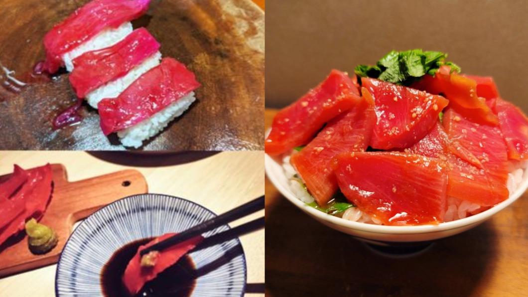 日網掀起將火龍果皮做成生魚片的吃法。(圖/翻攝自Twitter) 火龍果皮變「鮪魚生魚片」 日網揭口感驚呆:入口即化