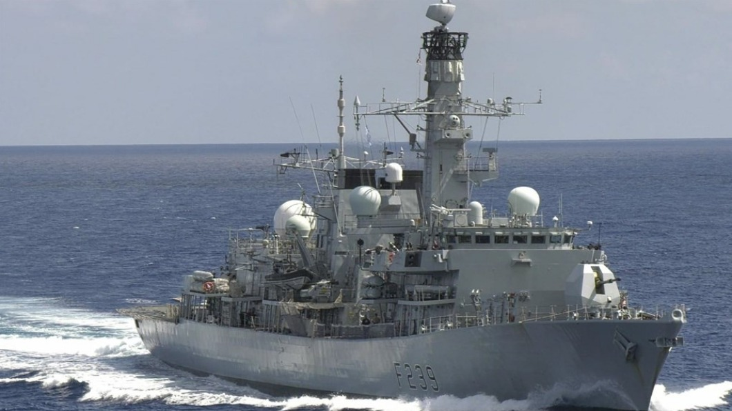 英國皇家海軍里契蒙號巡防艦27日通過台灣海峽。(圖/翻攝自推特@HMS_Richmond) 脫歐後強化深耕印太地區!英巡防艦今通過台灣海峽