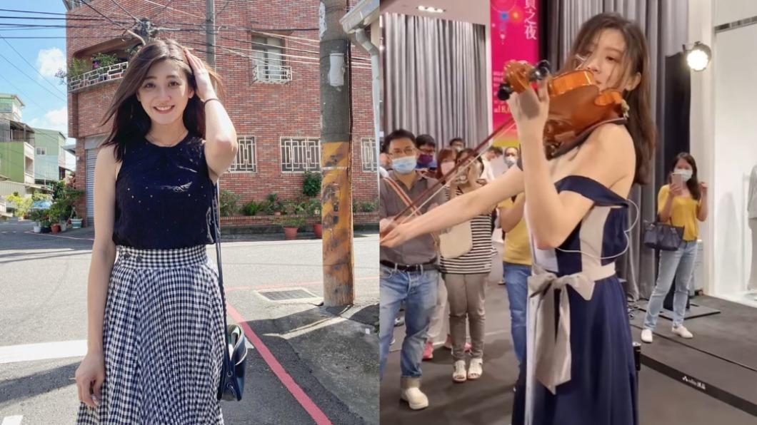 女星林逸欣是著名的音樂才女。(圖/翻攝自林逸欣臉書)  臨危不亂!音樂才女拉小提琴 「肩帶滑落」香肩美胸失守