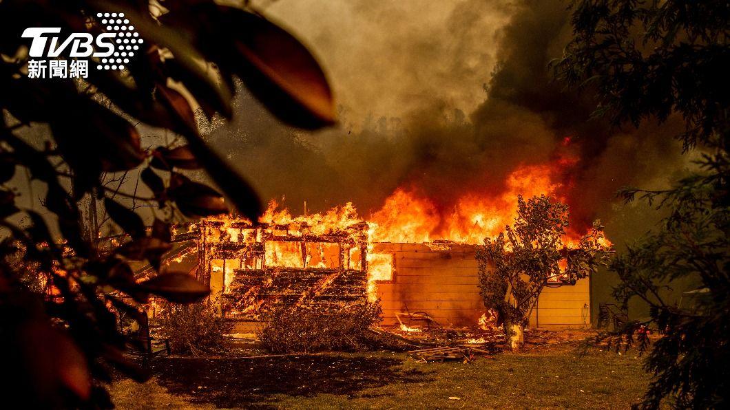 加州發生森林大火,上千房屋受到波及。(圖/達志影像美聯社) 加州森林大火危及上千房屋!起因疑「靈媒煮熊尿」