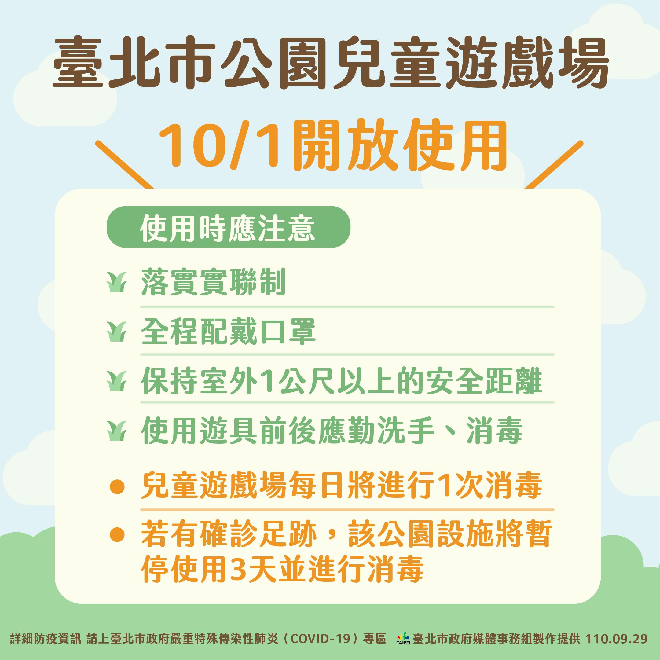 北市公園兒童遊戲場10/1開放使用。(圖/台北市政府) 大小朋友能放風了!台北市將開放公園遊戲場、校外教學