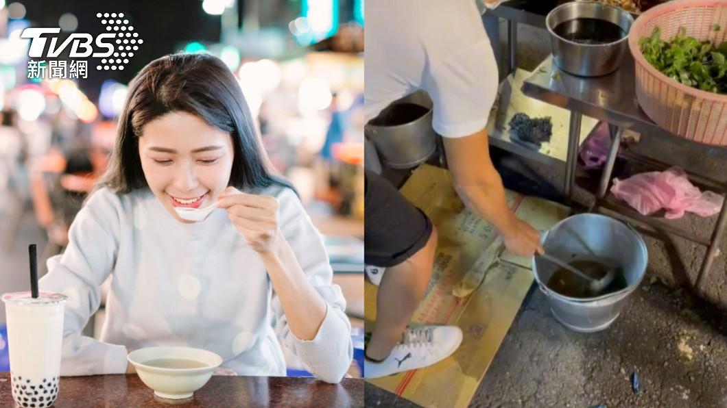 台灣被譽為「美食王國」。(圖/shutterstock達志影像、翻攝自抖音) 夜市攤販「撈髒水洗鍋具」 目擊者揭地點:覺得噁心