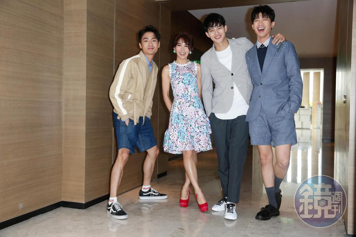 林鶴軒(左起)、郭書瑤、張庭瑚、洪言翔在《切小金家的旅館》表現精采,大家對票房也充滿信心