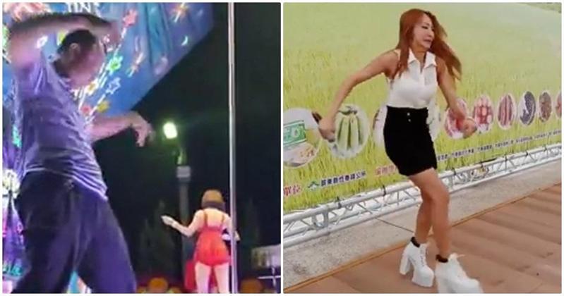圖/翻攝網路 廟會阿伯PK女主持人 網友讚「用生命跳舞」