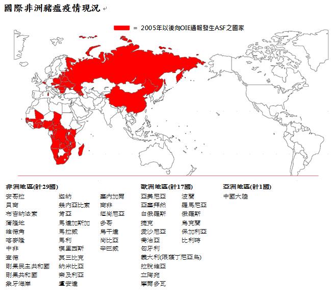 根據防檢局統計,2005年後向世界動物衛生組織通報感染非洲豬瘟的國家。(翻攝自防檢局網站)