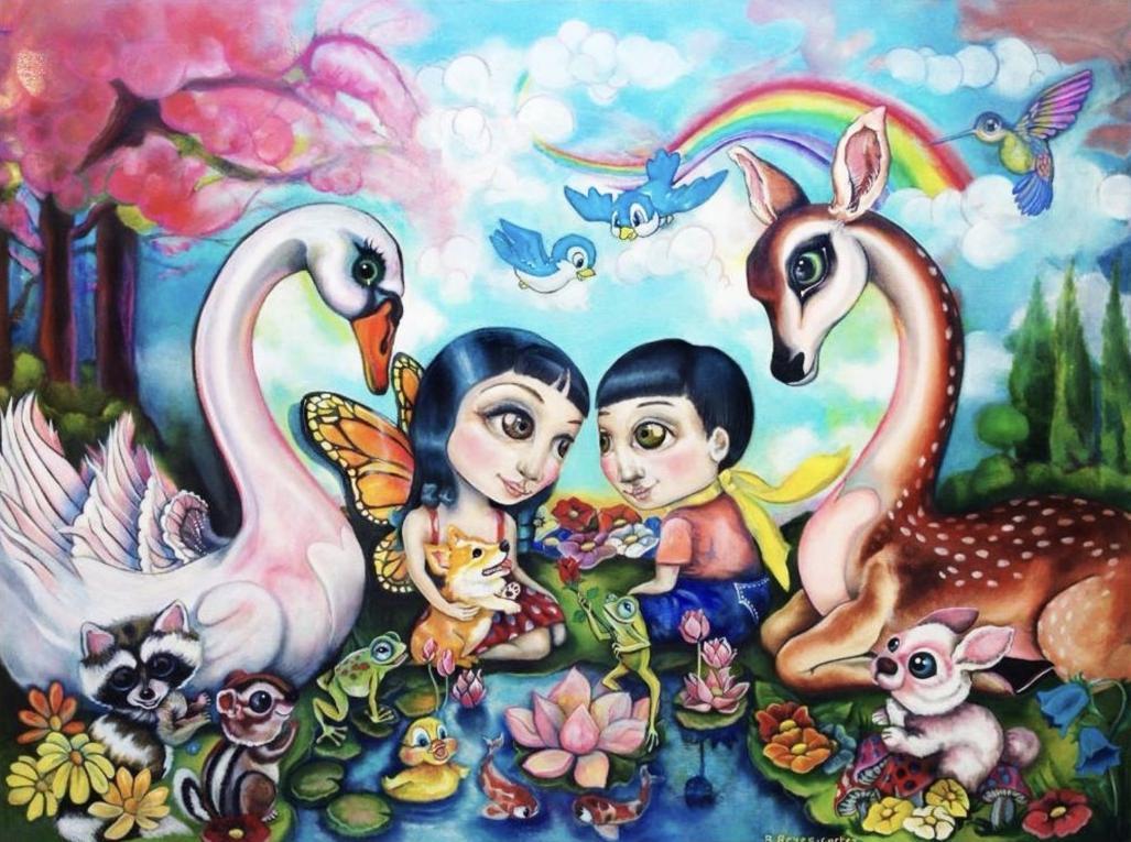 連詠心與夫婿馬塞爾歸寧宴的請帖色彩繽紛,圖中的男女身邊環繞許多動物,看起來很溫馨。