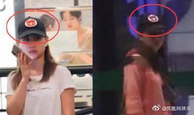 竇驍與戴棒球帽女子店電梯擁吻,有網友比對帽子與衣服認為是何超蓮。(翻攝自鳳凰網娛樂微博)