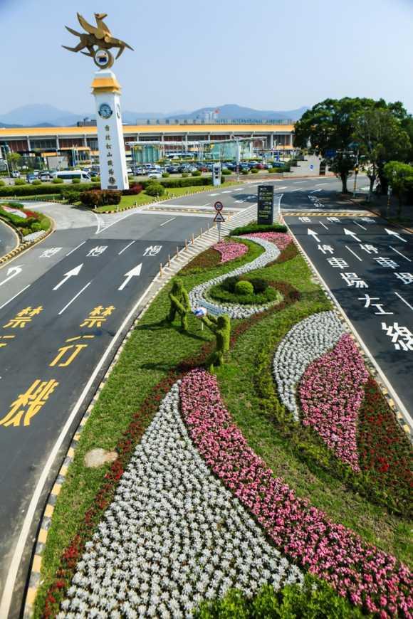 松山機場前綠地的景觀(台北市工務局提供)