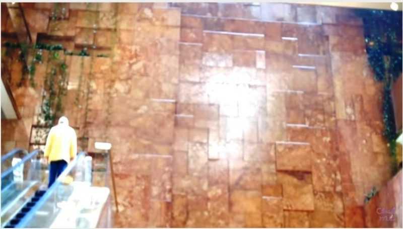 好幾層樓高的瀑布牆,整面都是金色(翻攝自YouTube)