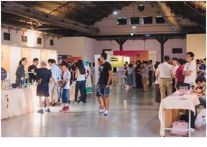 位於松菸一號倉庫的新創展示會,進擊未來的35項科技新創意(照片提供教育部青年發展署)