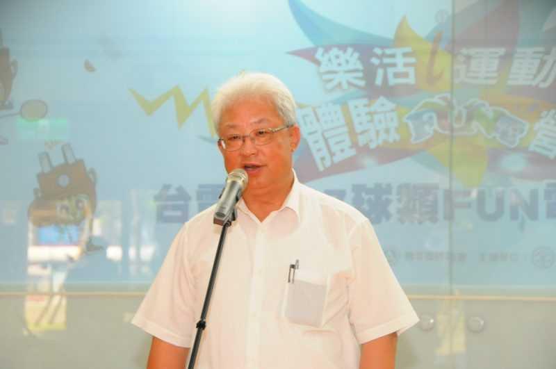 台電董事長朱文成為成果展揭幕儀式致詞(台電提供)