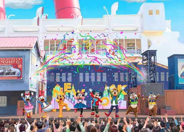 ▲海洋的船塢邊舞台則有米奇等迪士尼明星,以活潑的方式介紹紐約大都會的魅力。 (圖/tokyodisneyresort.jp)