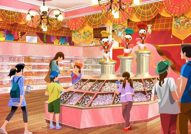▲在周年慶期間,世界市集的商店「西餅城」與餐飲設施「冰淇淋甜筒」將以「唐老鴨一家舉辦的巧克力比賽」為主題,搖身成為銷售獨家商品、餐點的巧克力脆球專賣店。(圖/tokyodisneyresort.jp)
