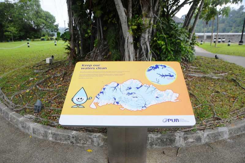 ▲麥里芝蓄水池公園的牌子,提醒珍惜水資源。(特派記者杜明賢攝)