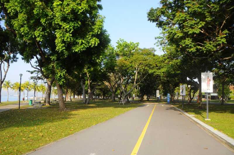 ▲東海岸公園有超過15公里的自行車車道,能沿著東海岸的海岸線騎自行車。(特派記者杜明賢攝)