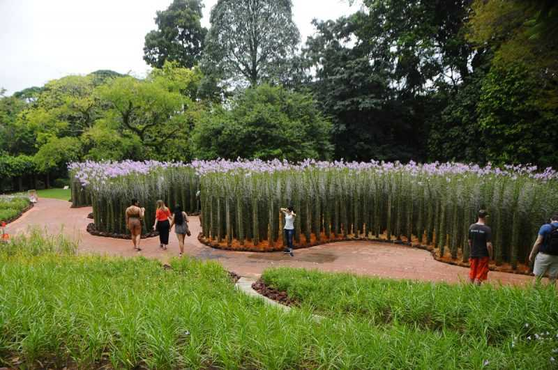 ▲比人還高的花束,讓遊客佇足拍照。(特派記者杜明賢攝)