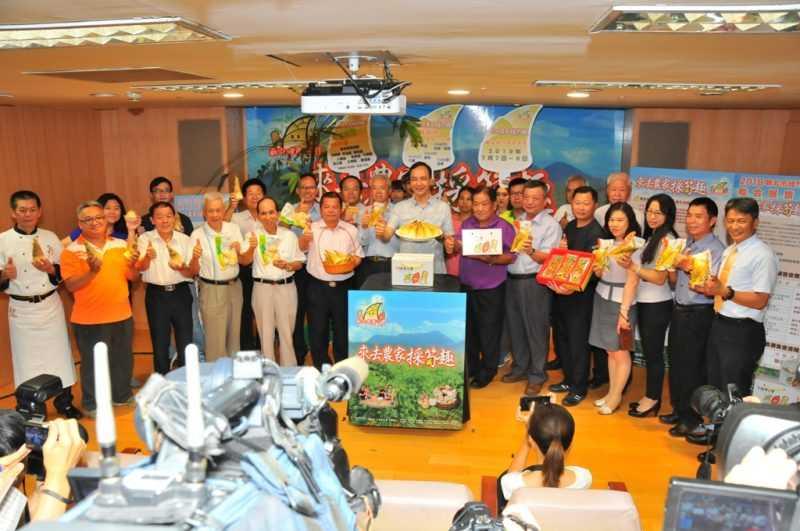 為推廣新北綠竹筍,市長朱立倫與各產區農會於今(2)日舉辦推廣記者會(記者杜明賢攝)