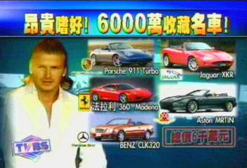 愛車成痴 貝克漢斥資6000萬收藏名車