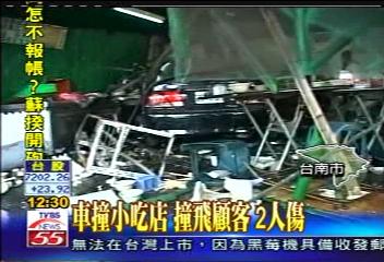 車撞小吃店 撞飛顧客 2人傷