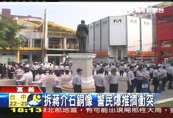 拆蔣介石銅像 警民爆推擠衝突