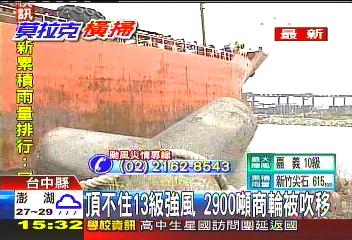莫拉克/頂不住13級強風 2900噸商輪被吹移
